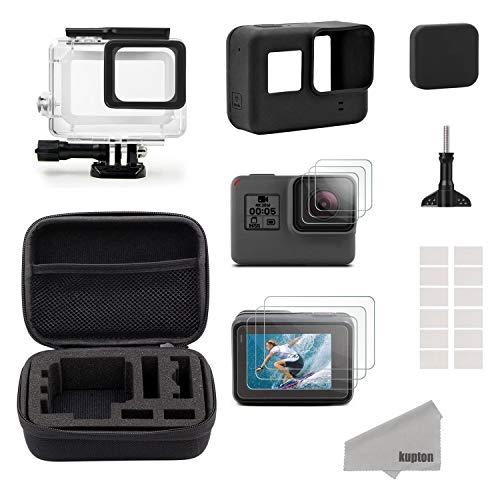 Kupton Accessori Kit per GoPro Hero7 Black/2018/6/5 Black Custodia Piccola da Viaggio+Custodia per Case+Protezione Schermo+Lente Cover+Custodia Protettiva in Silicone per Go Pro Hero7 Black/2018/6/5
