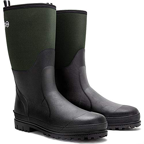 OutdoorMaster Hunting Boots - Waterproof, Insulated Boots for Hunting Fishing and Outdoor, Neoprene Rubber, for Men - Dark Green,10