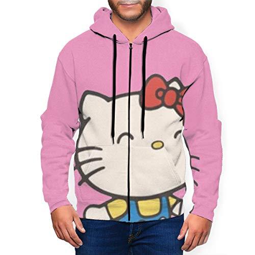 Sudadera de manga larga con cremallera para hombre de Hello Kitty, con estampado 3D, a la moda, divertida, con bolsillos en la parte delantera Negro Negro ( S