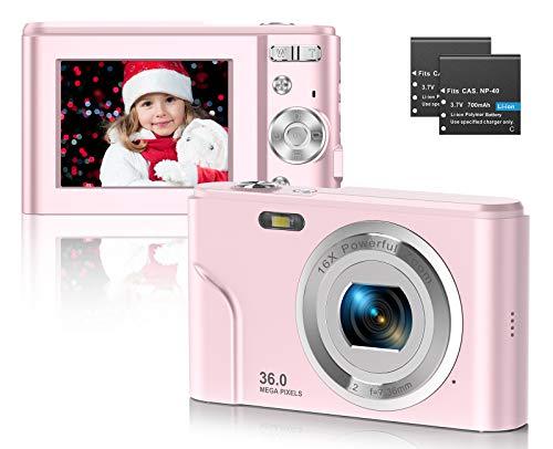 CLUINIGO Digitalkamera, FHD 1080P 36MP Pocket Vlogging Vidio Foto Kompaktkamera für YouTube mit 16-fachem Digitalzoom, 2,4-Zoll-LCD-Bildschirm für Kinder Senioren Anfänger Reise Rosa (2 Batterien)