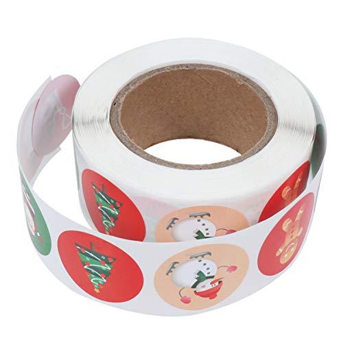 Tomaibaby Autocollants D'étiquettes de Rouleau de Noël Papier Kraft Rond Bonhomme de Neige Arbre de Noël Cadeau D'étanchéité Autocollants pour Enveloppe Bricolage Carte de Voeux Faveurs du