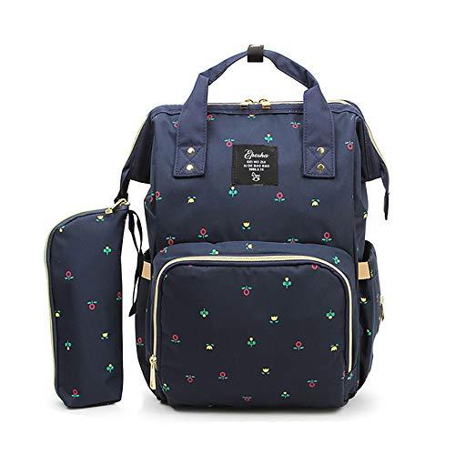 TFTREE Wickeltasche Rucksack, multifunktionale Reisetasche für Mädchen große Babytasche Hängender Kinderwagen Mit USB-Ladeanschluss Isolierfach-cyan