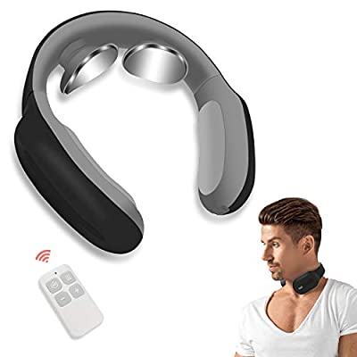 Neck Massager with Pulse Heated, Smart Portable Cordless Neck Massage Equipment, 3 Modes 15 Speeds Electric Pulse Massage Gifts for Women Men Dad Mom, Use at Home Office Travel