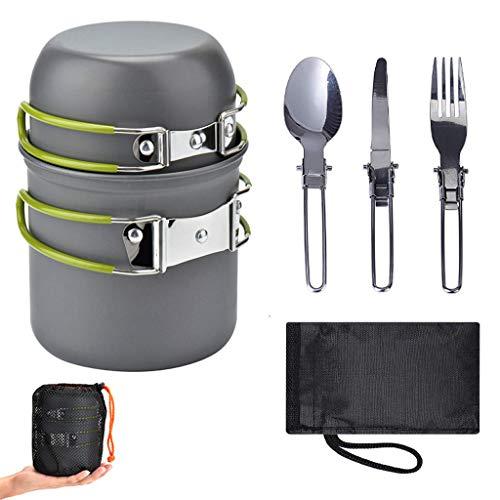 UKtrade Utensilios de cocina ultraligeros de aleación de aluminio para exteriores, tetera, pícnic, vajilla y hervidor de agua, mini cucharas de viaje, juego de 5 piezas