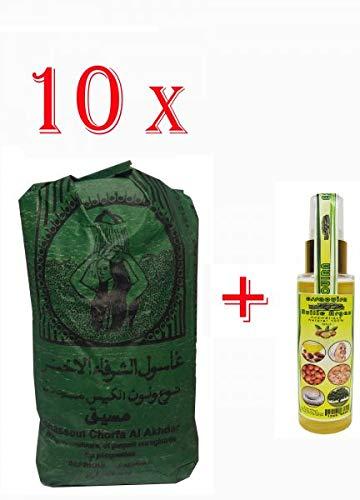 10 X 500 Gramm Ghassoul/Rhassoul Wascherde Stücken+ 60 ml Argan Oil Arganöl