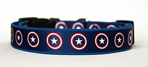 MasTazas Captain America Hundehalsband Handgemachte Größe M Ohne Hundeleine Dog Collar Handmade