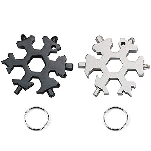 2pcs 19-in-1 Stainless Steel Snowflake Multitool Card Outdoor Travel Portable Snowflake Keychain Screwdriver Bottle Opener EDC Environmental Tool (2pcs-Black+Sliver)