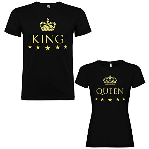 Pack de 2 Camisetas Negras para Parejas, King y Queen, Dorado (Mujer Tamaño M + Hombre Tamaño L)