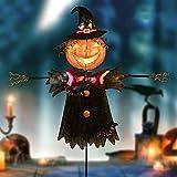 Metal Scarecrow Shape Jack O' Lantern for Halloween Decorations Outdoor, Solar Fall Pumpkin Decor Garden Pathway Stake Halloween Orange Lights Decor for Garden, Farmhouse, Patio, Landscape and Yard
