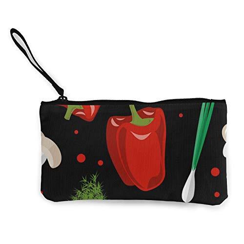 Moneda de lona, monedero de verduras maduras con cremallera, bolsa de cosméticos de viaje multifunción, bolsa de maquillaje para teléfono móvil, paquete de lápices con asa