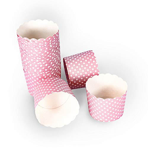 Frau WUNDERVoll® 50 Muffin BACKFORMEN ROSA, Weisse Punkte Durchmesser 6,1 cm/Muffinbackform, Muffinform, Backformen, Backförmchen, Cupcake Formen, Muffin Förmchen Papier