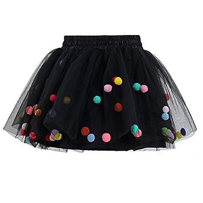 GoFriend Tutu Skirt Baby Girls Tulle Princess Dress 4-Layer Fluffy Ballet Skirt with Pom Pom Puff Ball Black