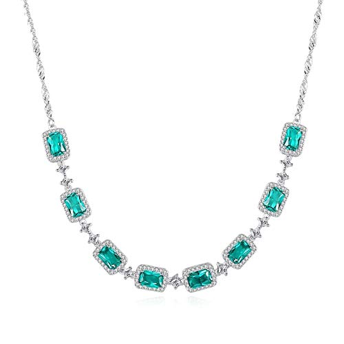 Luxury Emerald Wedding Pendant Necklace for Women Charming Trendy Chain Link Necklace 925 Silver Sterling Fine Jewelry