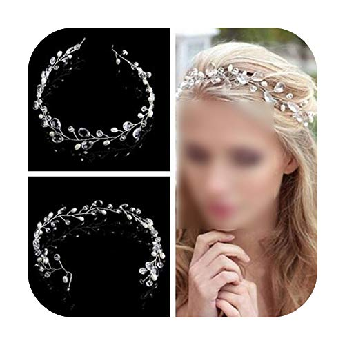Hairpin Western Wedding Fashion Headdress For Bride Handmade Wedding Crown Floral Pearl Hair Accessories Hairpin Ornaments-Ylhj085E Silver-