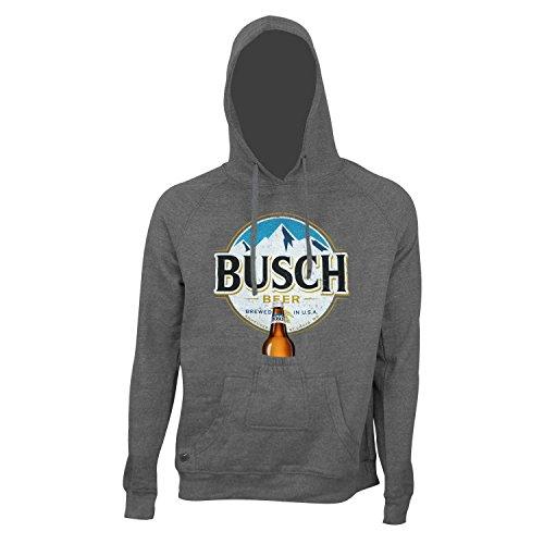BUSCH Flaschenöffner rundes Logo Bier Pouch Hoodie Xx-Large Grau