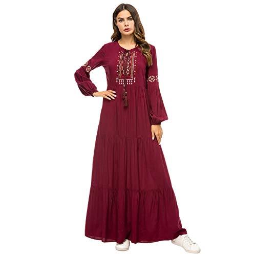Timagebreze Frauen Geometrische Stickerei Rüschen Plissee Kleid Ethnische Quaste Kordelzug Langarm Drapierte Schaukel Langes Kleid Abaya Katar Türkische Islamische Kaftan Dubai Kleidung XXXL