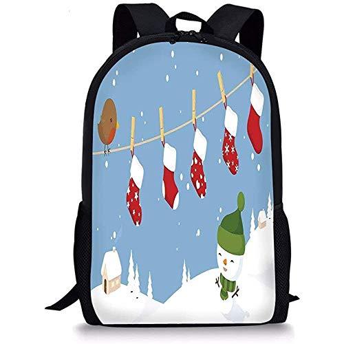 Hui-Shop Mochilas Escolares Decoraciones navideñas, pajarito y Calcetines colgados en el tendedero Snowy Kids Cartoon, Blanco Azul para niños niñas