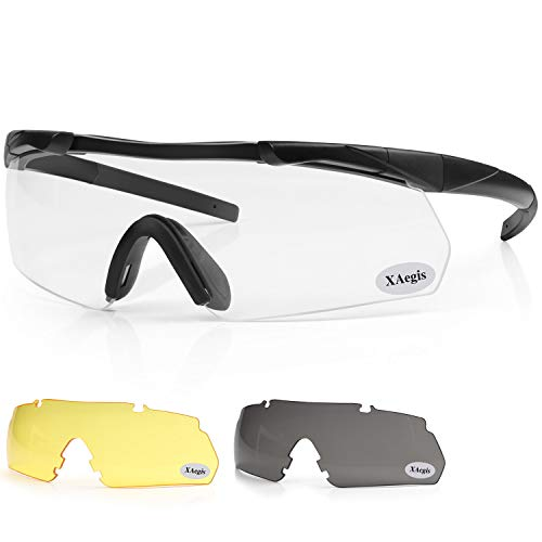 XAegis Tactical Shooting Glasses with 3 Interchangeable Lens High Impact Eye Protection for Range Safety Glasses Included Yellow,Clear, Smoke Grey Lens - Black Frame