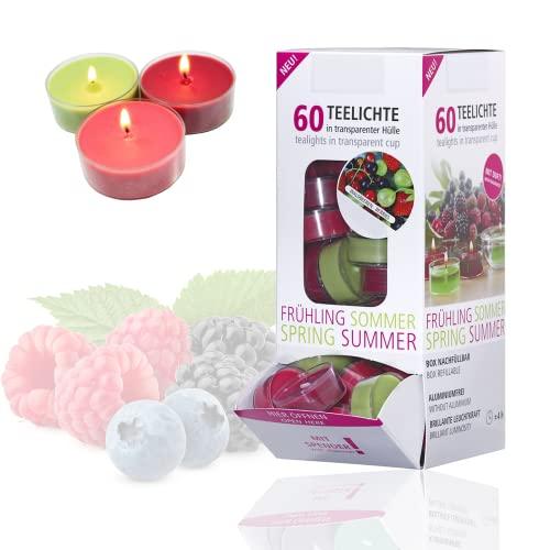 Candelo 60er Set Duft Kerzen Ambiente - Duftteelichter Waldbeere - Teelicht in Kunststoff Hülle je 1,7 x 3,8cm - 4 Std Brenndauer - Teelichter in 3 Farben