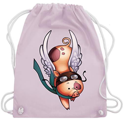 Shirtracer Sonstige Tiere - Fliegendes Schwein - Unisize - Pastell Rosa - fliegendes schwein - WM110 - Turnbeutel und Stoffbeutel aus Baumwolle