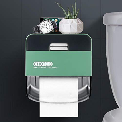 ZHANGJ Wasserdichter Toilettenpapierhalter Zur Wandmontage, Zweilagig, Aufbewahrungsbox Für Das Badezimmer, Tragbar, Grün