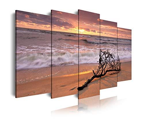 DekoArte 144 - Cuadros Modernos Impresión de Imagen Artística Digitalizada | Lienzo Decorativo para Tu Salón o Dormitorio | Estilo Paisaje Relajación Mar Playa Naturaleza Amanecer | 5 Piezas 150x80cm