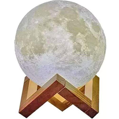 Luminária Lua 3D Muda Cor Suporte Madeira Controle Remoto