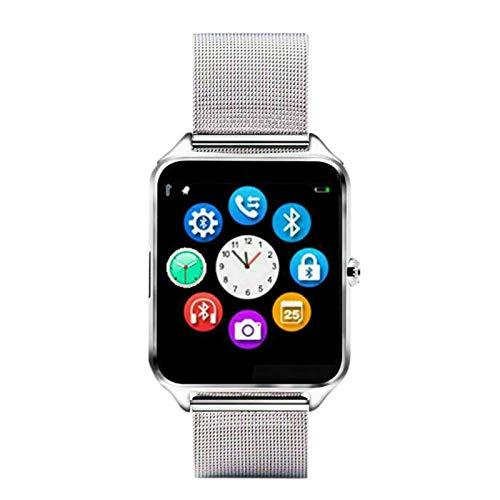 Camisin Reloj Inteligente Z60 Correa de Metal Soporte CáMara Tarjeta SIM TF Compatible Android PK Y1 S8 X7D DZ09 V8 Reloj (Plata)