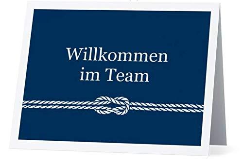 Grußkarte Willkommen im Team Blau weiß