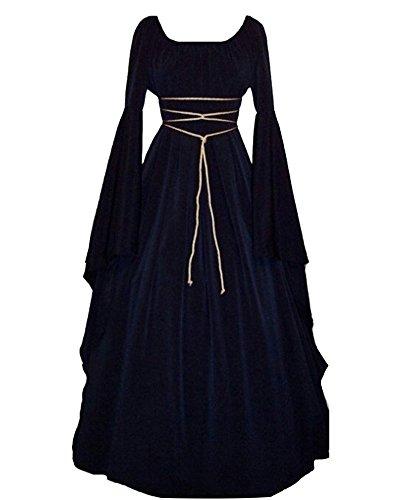 LaoZan Femmes Robes Médiévale Manches Longues Parti Costume Déguisements Halloween De Mariée Gothique Robe Marine S