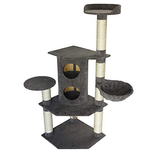 Bontoy Kratzbaum Betty Pro in grau I 65 x 65 x 150 cm I mit 12 cm Sisalstämmen I großes Katzenhaus I auch für große Katzen geeignet I Stabiler Katzenkratzbaum