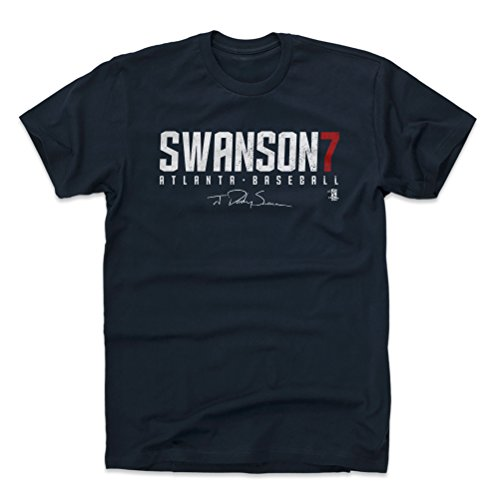 500 LEVEL Dansby Swanson Shirt (Cotton, Medium, True Navy) - Atlanta Men's Apparel - Dansby Swanson Swanson7 W WHT