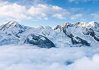 新しい7x5Ft自然の風景の背景そびえ立つ山の写真の背景雲の周りの雪に覆われた山々写真の凍結の背景YouTubeの背景 1248
