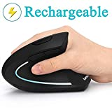 Ergonomic Mouse, Vertical Wireless Mouse - LEKVEY Rechargeable 2.4GHz Optical Vertical Mice : 3 Adjustable DPI 800/1200/1600 Levels 6 Buttons, for Laptop, PC, Computer, Desktop, Notebook etc, Black