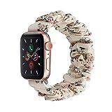 QINJIE Haarelastisches Armband Kompatibel mit Apple Watch 3 4 5 6 SE, weich bedruckter Stoff Stoff Armband Mädchen Frauen elastisches Armband Ersatz,C,38MM small