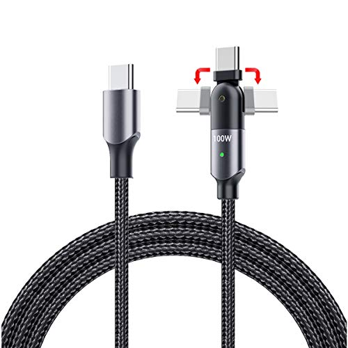USB C to USB C Cable 1.2 m, 180 Degree Rotation PD 100W 5A 20V Fast Charge Nylon Braided Compatible with MacBook Air/Pro, iPad Pro 2020 2018, Galaxy S20 Ultra S10 S9 S8 Plus Note 20 10
