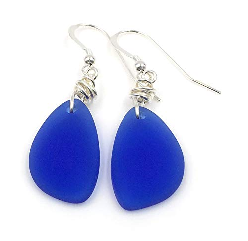 Popular Starry Night Cobalt Blue Beach Sea Glass Earrings with Charming Handmade Silver Knot and Sterling Silver Hooks, Beautiful Gift by Aimee Tresor Jewelry, Great with Jeans