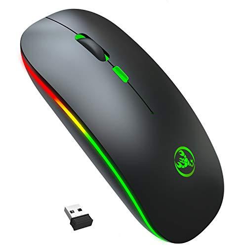 QZVOO Funkmaus PC Maus Kabellos Computermaus Kabellos Wireless Mouse 2.4G Funkmaus für Laptop Funk Maus USB Drahtlos ohne klickgeräusche lautlose PC Microsoft Computer schnurlose Mouse (Dark Black)