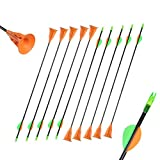 MZZG Archery Suction Cup Arrows 24 Inch Fiberglass Color Vanes with Safe Fixed Suction Cup for Kids Youth Beginner for Target Practice Game,12 pcs