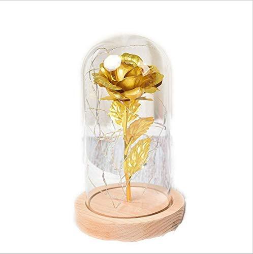 Rosa En Cristal Led Luz Noche La Bella Y La Bestia Principito Flor artificial