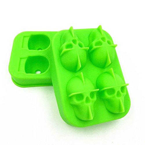 WZHH Eiswürfelform 3D Skull Flexible Silikon Eisherstellung Mold 4 Schädel Großer Eismaschine Am Besten Für Gefrierschrank (Color : Green)