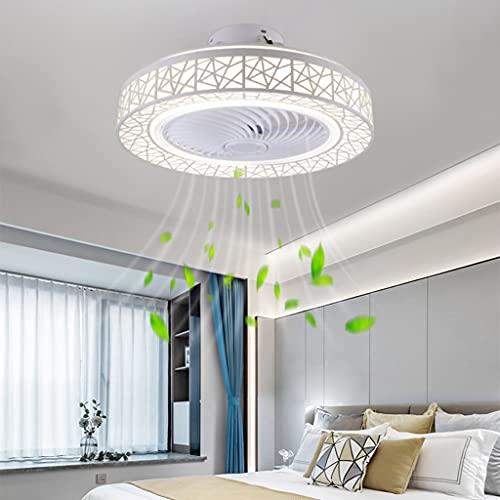 Ventilador De Techo Con Iluminación Pantalla De Acrílico LED Ventilador Regulable Velocidad Viento Ajustable Silencioso Lámpara De Techo Sala De Estar Dormitorio Habitación De Los Niños Araña,Blanco