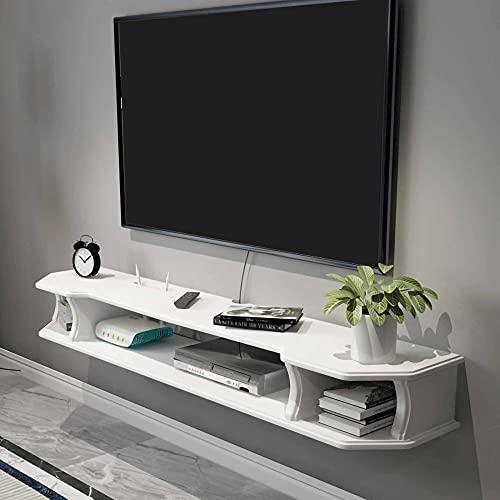 Mueble de TV Flotante, Consola Multimedia de Madera Mueble TV de Pared, Consola de TV Colgante para Decodificadores de Cable Enrutadores Reproductores de DVD/A / 110cm