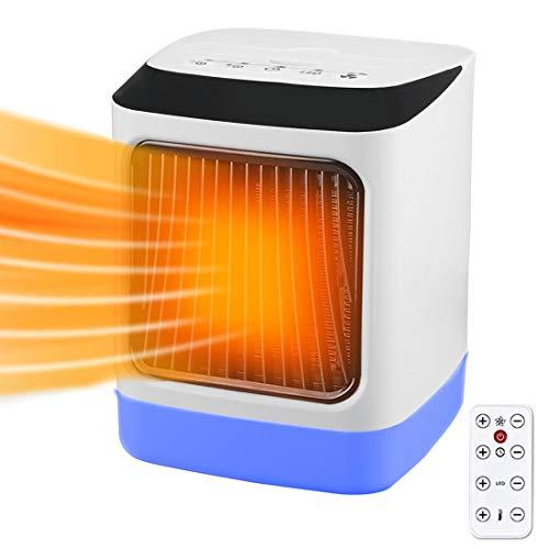 Heizlüfter 1000W Energiesparend Keramik Heizlüfter Schnellheizung 7-Farbige LED mit Fernbedienung Ventilator Heizlüfter,3 Modi Leise für Schreibtisch Heimbüro Küche Schlafzimmer(1000W)