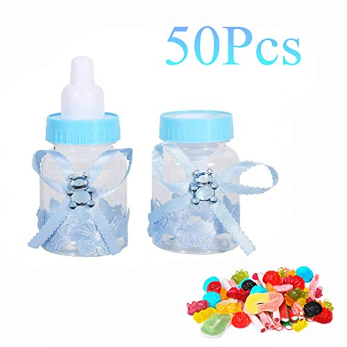 Yosoo 50pcs Cute Feeding Bottle Shape Candy Boxes 3.5 Inch Mini Fillable Baby Bottle Shower Box Candy Box for Birthday Christening Gift Party Decorations Blue