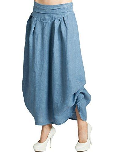 Caspar RO016 Leichter Langer Damen Sommer Leinenrock zum seitlichen Hochbinden, Größe:One Size, Farbe:Jeans blau
