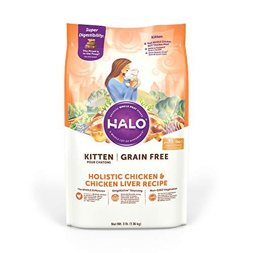 Comida seca para gatos Holistic Pollo e Hígado de Pollo sin grano para gatitos de Halo