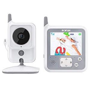 Vigilabebés con Cámara, BOIFUN Bebé Monitor Inalambrico Inteligente con Pantalla LCD de 3.2