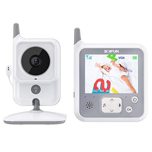 Vigilabebés con Cámara, BOIFUN Bebé Monitor Inalambrico Inteligente con Pantalla LCD de 3.2', Señal Más Fuerte, VOX, Visión Nocturna, Comunicación Bidireccional, Batería de 1150mAh