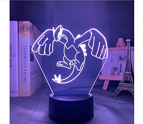 Acryl 3d Nachtlampe Lugia Figur Nachtlicht für Kinder Schlafzimmer Farbwechsel USB Schreibtisch Lampe Spiel Pokemon Go Lugia LED Nachtlicht 7 Farben keine Fernbedienung